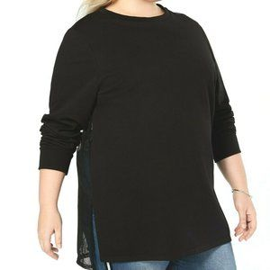 Say What? Women's Black Mesh-Back Tunic Sweater